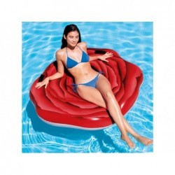 Matelas Gonflable Intex 58783 Rose Rouge 137x132 Cm   Piscineshorssolweb