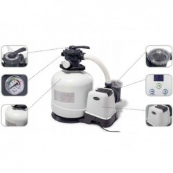 Épurateur À Filtre À Sable Et Chlorinateur Salin De 6 000 L/H Intex 26676 | Piscineshorssolweb