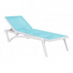 Transat Costa Turquoise Et Blanc De 35x193x68 Cm